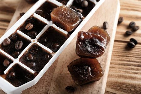 Coffee Ice Cubes in Ice Cube Tray