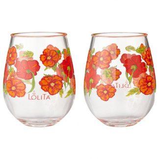 Otto's Granary Best Bunch Poppy Acrylic Stemless Wine Glasses set of 2 by Lolita