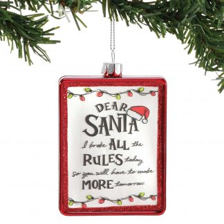 Otto's Granary Dear Santa Rules Ornament by Izzy & Oliver