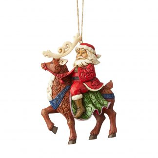 Otto's Granary Santa Riding Reindeer Ornament by Jim Shore Heartwood Creek