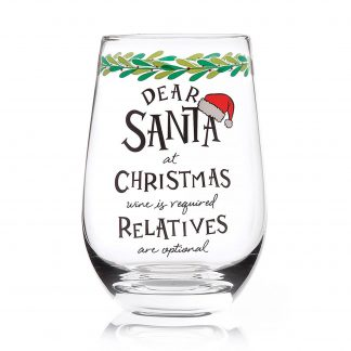 Otto's Granary Dear Santa Relatives Stemless Wine Glass Entertainment by Izzy and Oliver