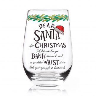 Otto's Granary Dear Santa Waist Stemless Wine Glass Entertainment by Izzy and Oliver