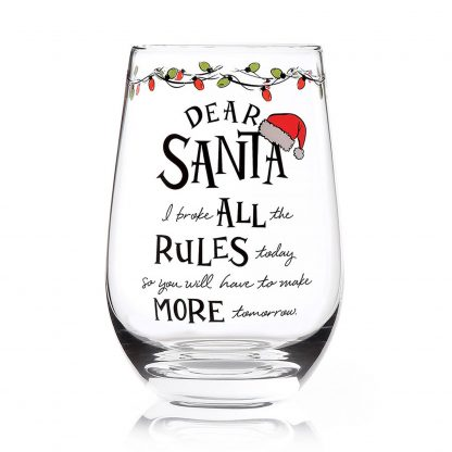 Otto's Granary Dear Santa Rules Stemless Wine Glass Entertainment by Izzy and Oliver