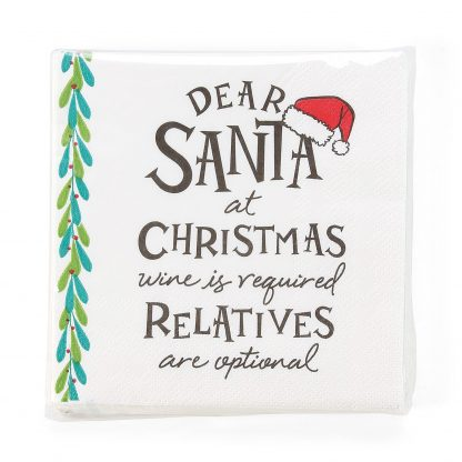 Otto's Granary Dear Santa WineIs Napkins Entertainment by Izzy and Oliver