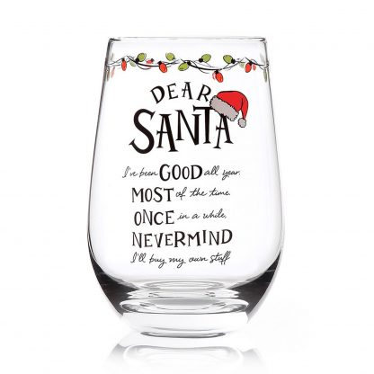 Otto's Granary Dear Santa Nevermind Stemless Wine Glass Entertainment by Izzy and Oliver