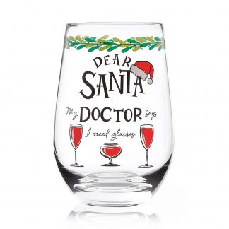 Otto's Granary Dear Santa Doctor Stemless Wine Glass Entertainment by Izzy and Oliver